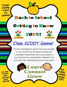 Back to School FUN - Getting to Know You - Whole Class **SCOOT** Game