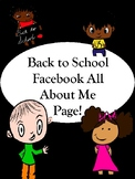 Back to School Facebook All about Me activity Worksheet!