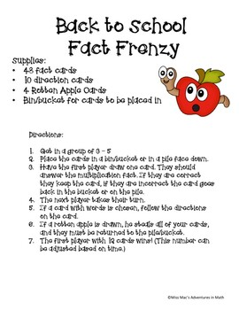 Back to School Fact Frenzy - Multiplication Fact Practice Game