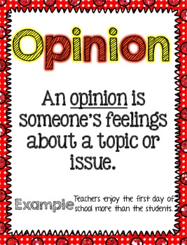 Back to School Fact or Opinion [Literacy Center]