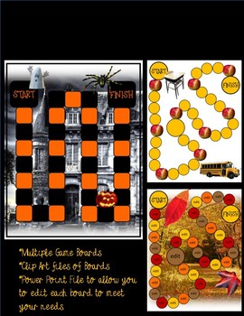 Back to School Fall Game Boards Clip Art & Editable Power Point