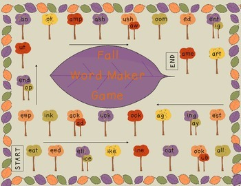 Back to School Fall Word Maker Board Game K-5 B2S Word Chunks