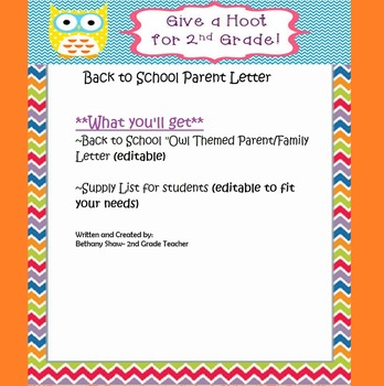 Back to School Family Letter