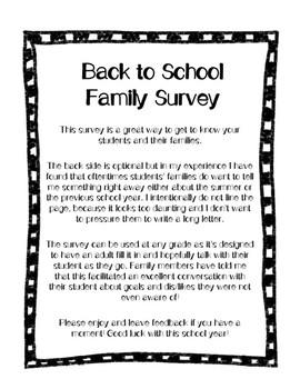 Back to School Family Survey