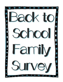 Back to School Family Survey