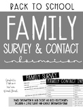 Back to School Family Survey and Contact Information Forms