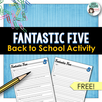 Back to School / Beginning of the Year Activity - Fantastic Five