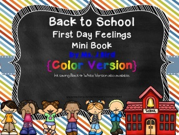 Back to School Feelings Minibook Printable in both color and black & white