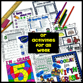Back to School Fifth Grade First Week/Day 5 activities, LA, Math, Writing
