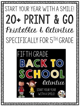 Back to School Fifth Grade Printables and Activities
