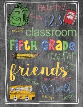 Back to School Fifth Grade Teacher's Gift