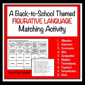Back-to-School Figurative Language Matching Activity
