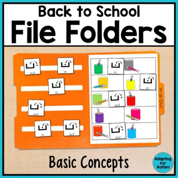 Back to School File Folder Activities for Special Education - Basic Concepts