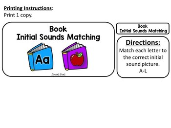 Back to School File Folder Game:  Book Initial Sounds A-L