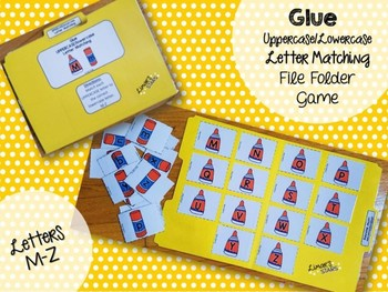 Back to School File Folder Game:  Glue Uppercase to Lowercase Matching (M-Z)