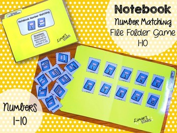 Back to School File Folder Game: Notebook Number to Quantity Matching 1-10