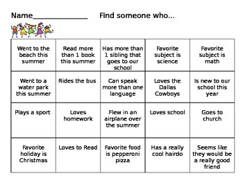 Back to School - Find Someone Who... Game