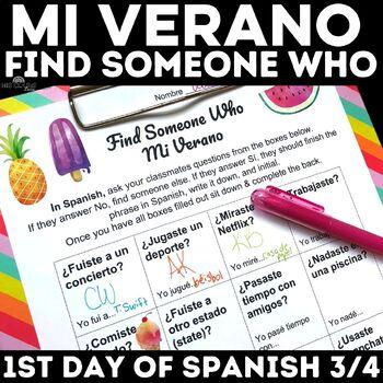Back to School: Find Someone Who - Mi Verano (past tense)