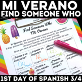 Back to School: Find Someone Who - Mi Verano (past tense) 1st day of school