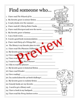 """Back to School """"Find Someone Who..."""" activity for the reading classroom."""