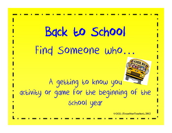 Back to School Find Someone who... getting to know you activity/game