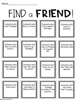 Back to School: Find a Friend Activity