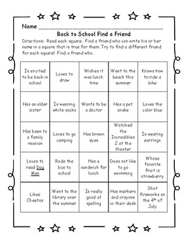 Back to School Find a Friend Game