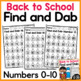Back to School Find and Dab (Numbers 0-20)