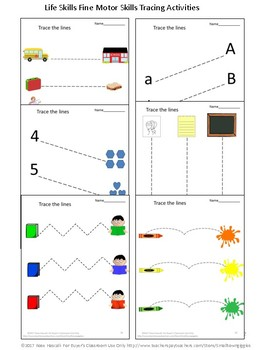 Fine Motor Skills Tracing Activities Special Education Back To School