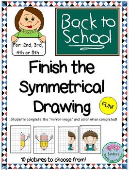 Back to School Finish the Symmetrical Picture / 10 pictures! Draw and Color!