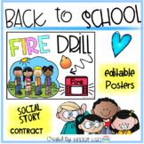 Back to School Fire Drill Editable Posters Social Story Mini Reader