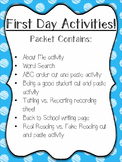 Back to School - First Day Activities