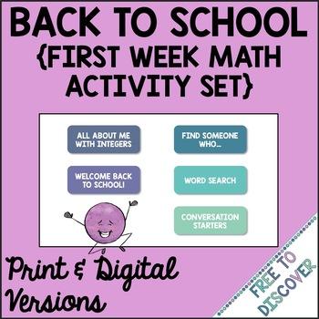Back to School: First Week Math Activity Set