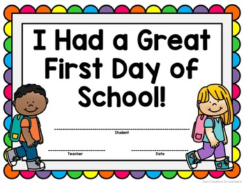 Back to School First Day Certificate