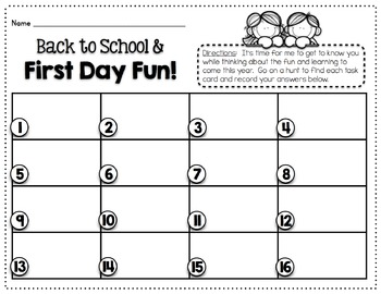 Back to School & First Day Fun! {A Task Card/Scavenger Hunt to Start Your Year}