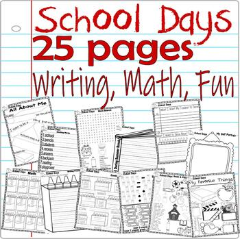 Back to School First Day * Fun Activity Packet Unit * Writing Spelling Math 25p