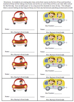 Back to School First Day Name Tags Bus and Car Riders