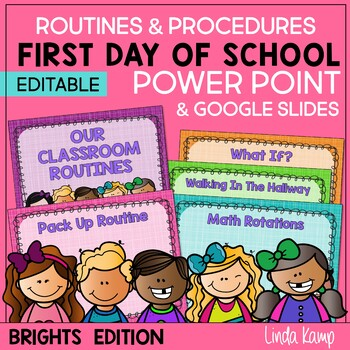 Back to School, First Day of School Power Point Template EDITABLE Brights  Theme