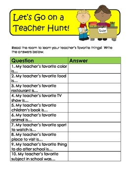 Back-to-School / First Day Teacher Hunt!