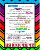 Back to School, First Day Welcome Letter for Students