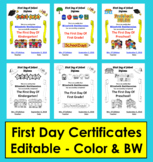 First Day of School Editable Certificates {Diplomas}