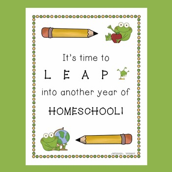 Back to School / First Day of School (Homeschool) Frog Theme