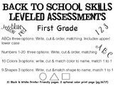 Back to School First Grade Assessments (multi-levels)