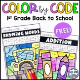 Back to School First Grade Color By Code FREEBIE!