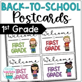 Back to School First Grade Welcome Back Postcards Editable