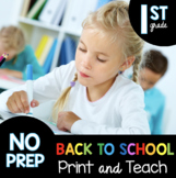 Back to School First Grade Worksheets - Distance Learning  Virtual  Bell Ringers