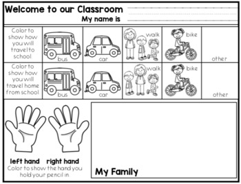 Back to School First Morning Welcome Sheets