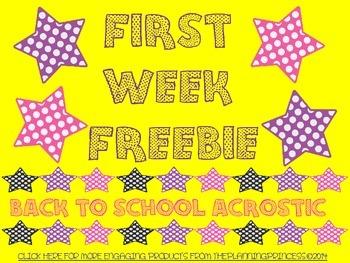 Back to School- First Week Acrostic- FREEBIE