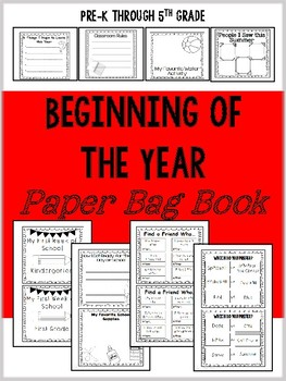 Beginning of the Year Paper Bag Book (Back to School)