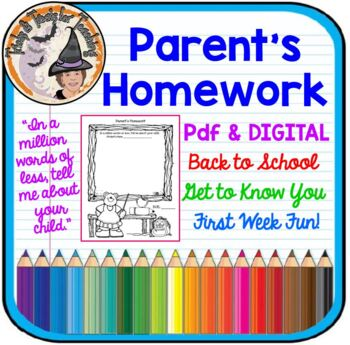 Back to School First Week of School Parent's Homework FUN!!! Fully Editable